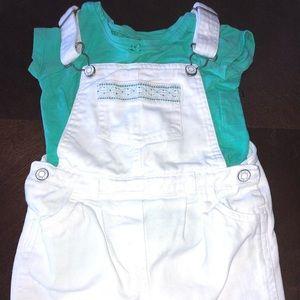 Carter's Piece White & Green short overalls & top